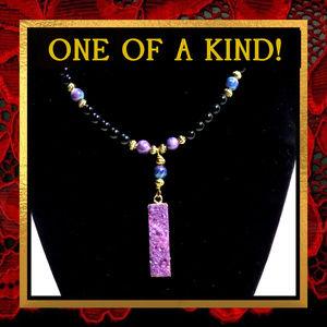 Purple & Black Gemstone Necklace #250
